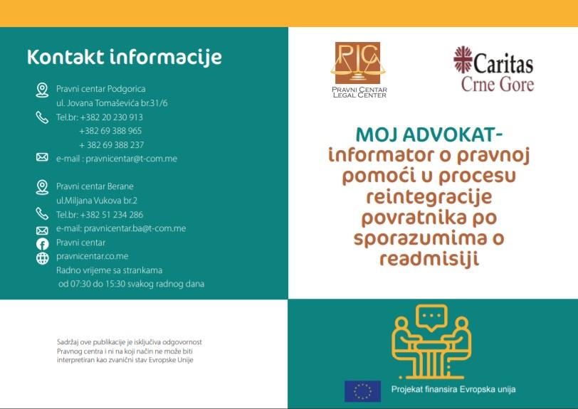 Brošura sa informacijama o azilu i readmisiji.