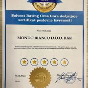 Mondo Bianco dobitnik Certificate of Exellence