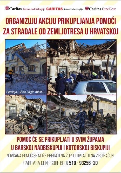 Akcija prikupljanja pomoći za žrtve zemljotresa u Hrvatskoj